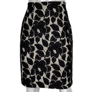 {ann taylor} black and ivory floral skirt